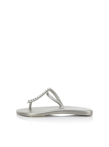 Melissa Women's Sin + Make a Wish Flat Thong Sandal (Silver)