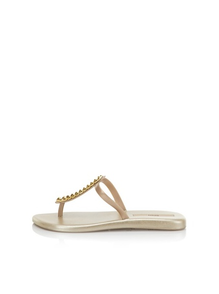 Melissa Women's Sin + Make a Wish Flat Thong Sandal (Gold)