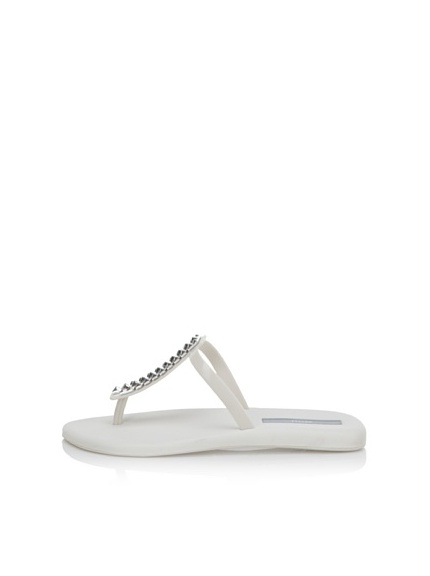 Melissa Women's Sin + Make a Wish Flat Thong Sandal (White)