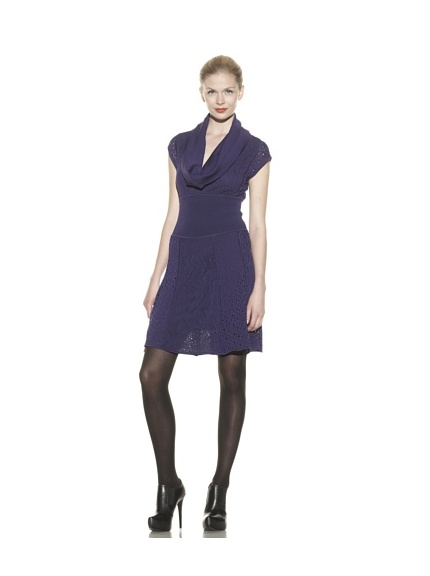 Catherine Malandrino Women's Capsleeve Mixed Pointelle Dress (Noirberry)
