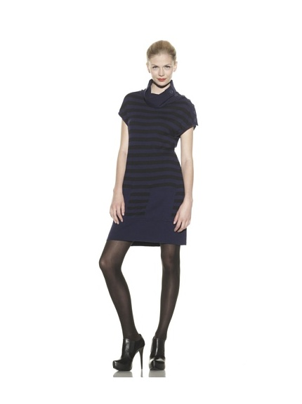 Catherine Malandrino Women's Stripe Side Button Neck Dress (Navy/Noir)