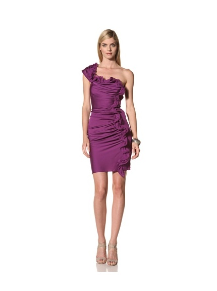 Catherine Malandrino Women's Asymmetrical Ruched Shoulder Dress (New Amethyst)