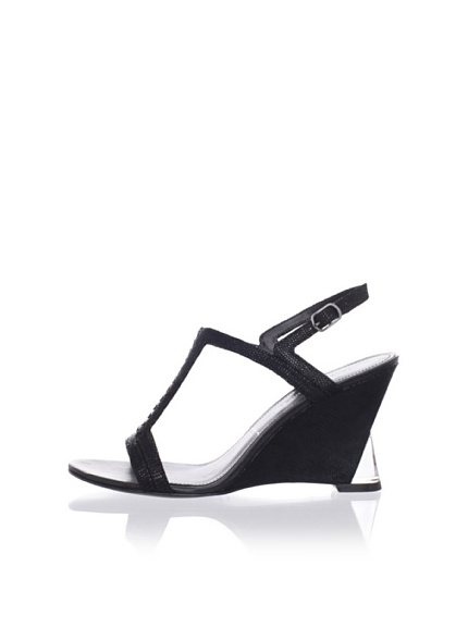 Sigerson Morrison Women's Dynn Wedge Sandal (Black Embossed)