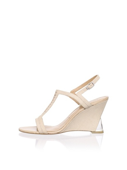 Sigerson Morrison Women's Dynn Wedge Sandal (Taupe Embossed)