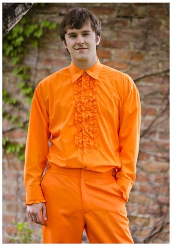 best online marketable shop for genuine Orange Ruffled Tuxedo Shirt - In Stock : About Costume Shop