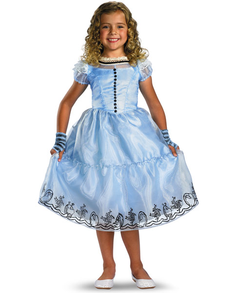 Deluxe Disney Alice In Wonderland Movie Alice Blue Girls Dress