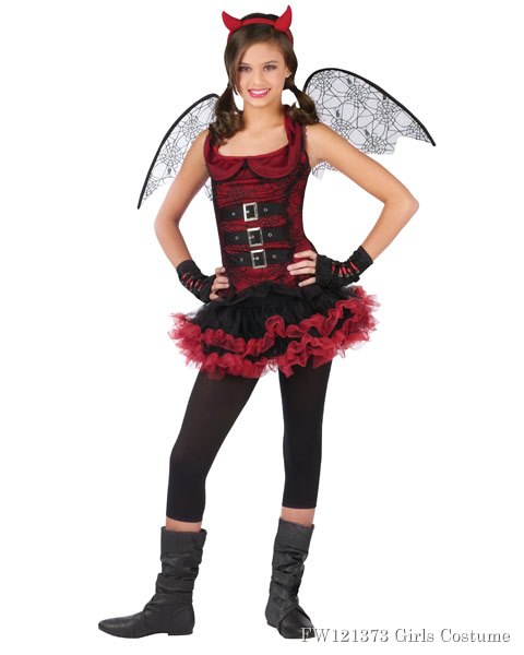 Red Devil Night Wing Tween Girls Costume