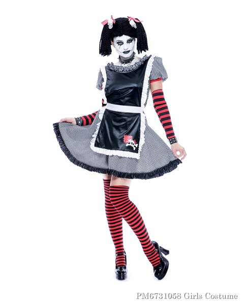 Girls Gothic Rag Doll Costume