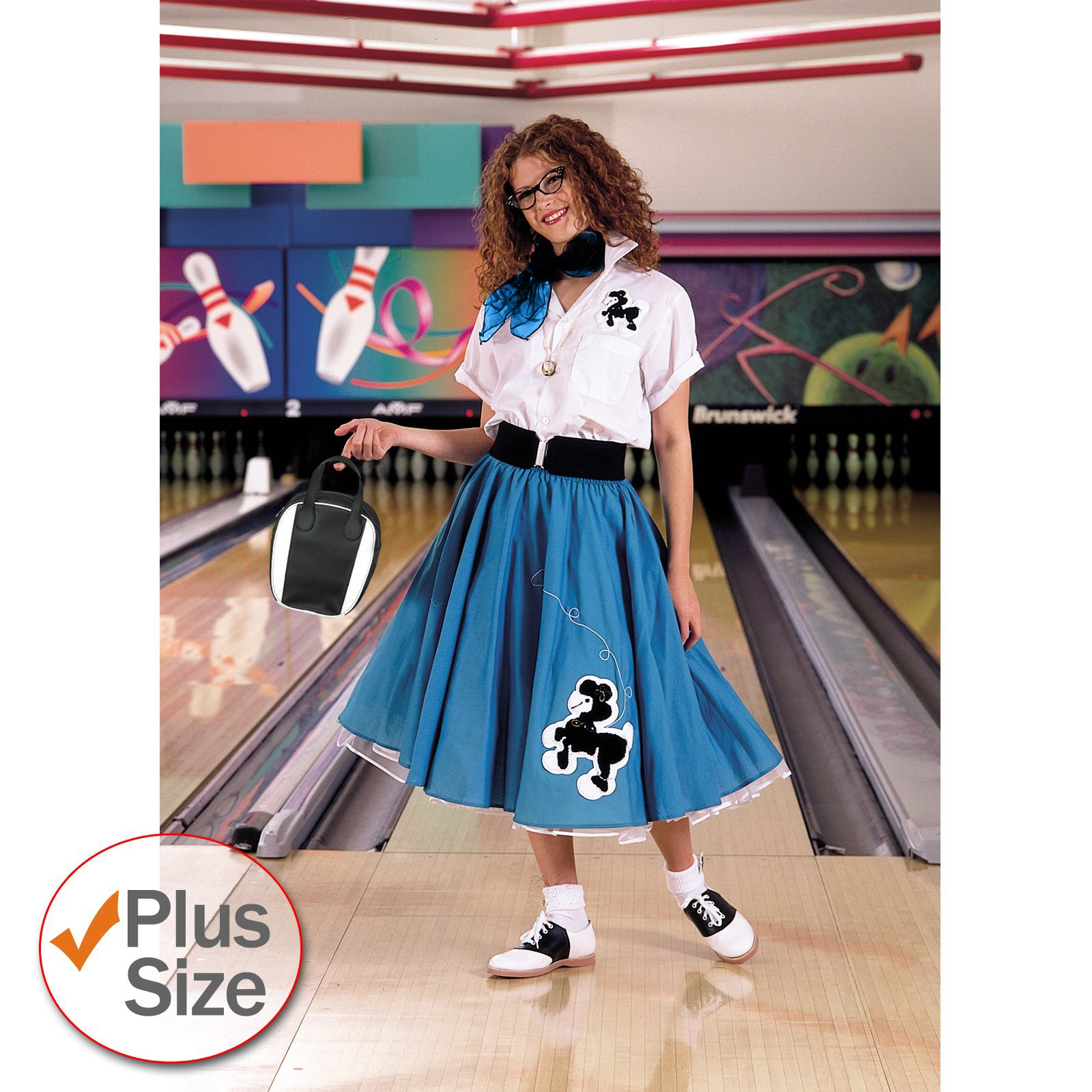 Complete Poodle Skirt Outfit Plus (Turquoise & White) Adult Cos
