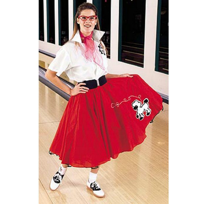 Complete Poodle Skirt Outfit (Red & White) Adult