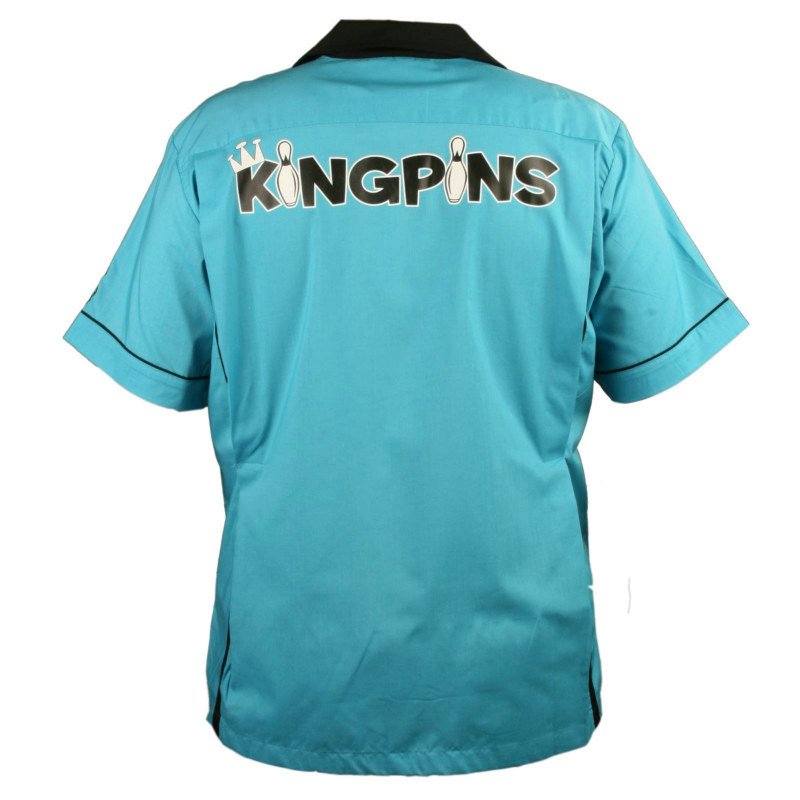 King Pin Classic Style Bowling Shirt - Turquoise Costume