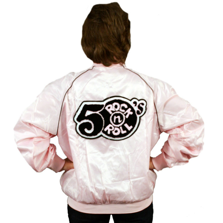 Pink Satin 50s Rock N Roll Jacket Adult Costume