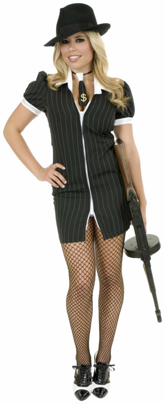 Gangster Moll (Black/White) Adult Plus Costume