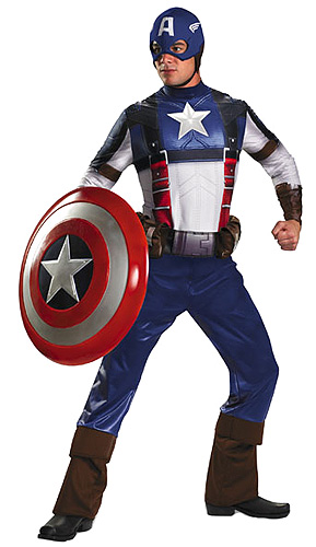 Adult Deluxe Captain America Movie Costume