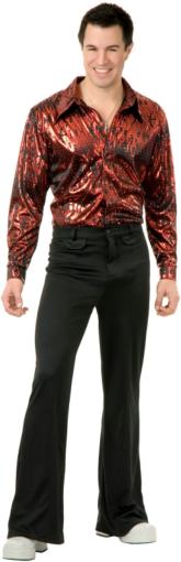 Disco Shirt - Flame Hologram Adult Plus Costume