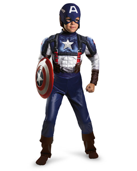 Toddler Classic Muscle Captain America Movie Costume