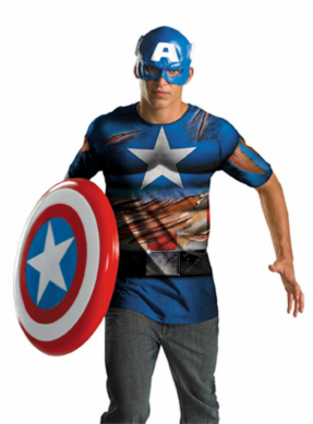 Captain America Mask and T-Shirt Costume Set - Tween