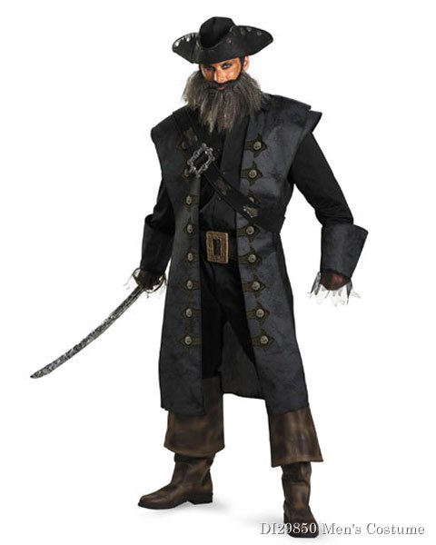 Deluxe Pirates Of The Caribbean Black Beard Mens Costume