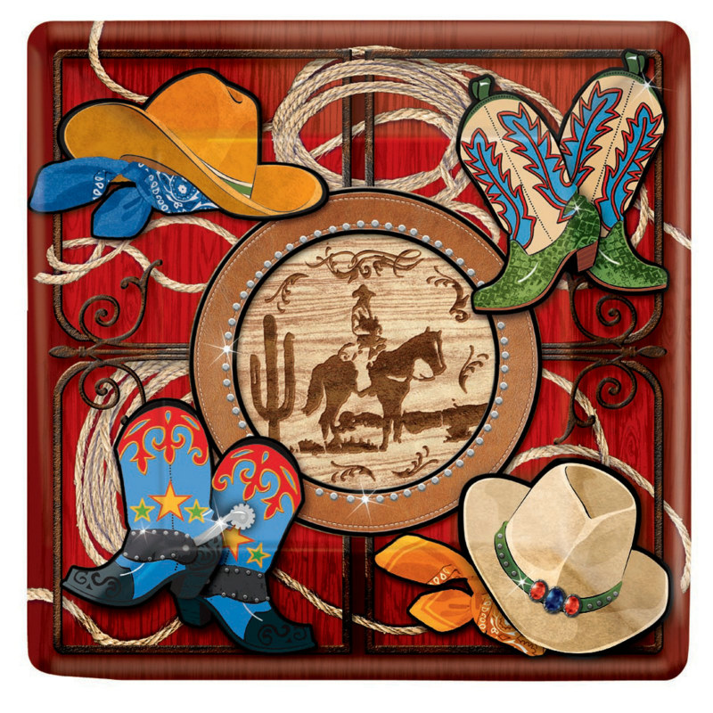 Giddy Up Cowboy Square Dessert Plates (8 count)