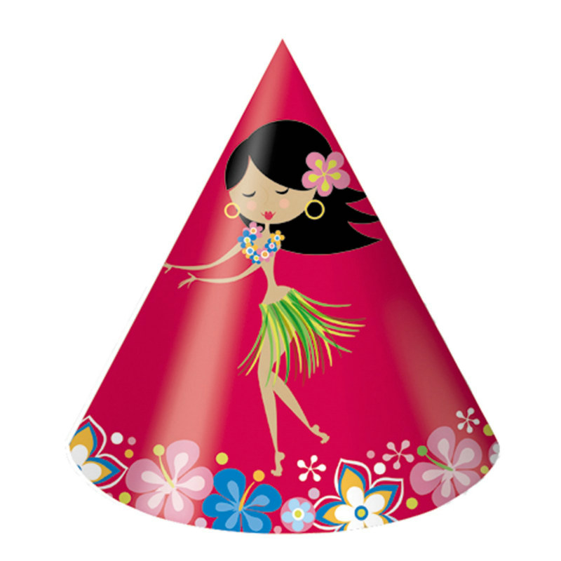 Let's Hula Cone Hats (8 count)