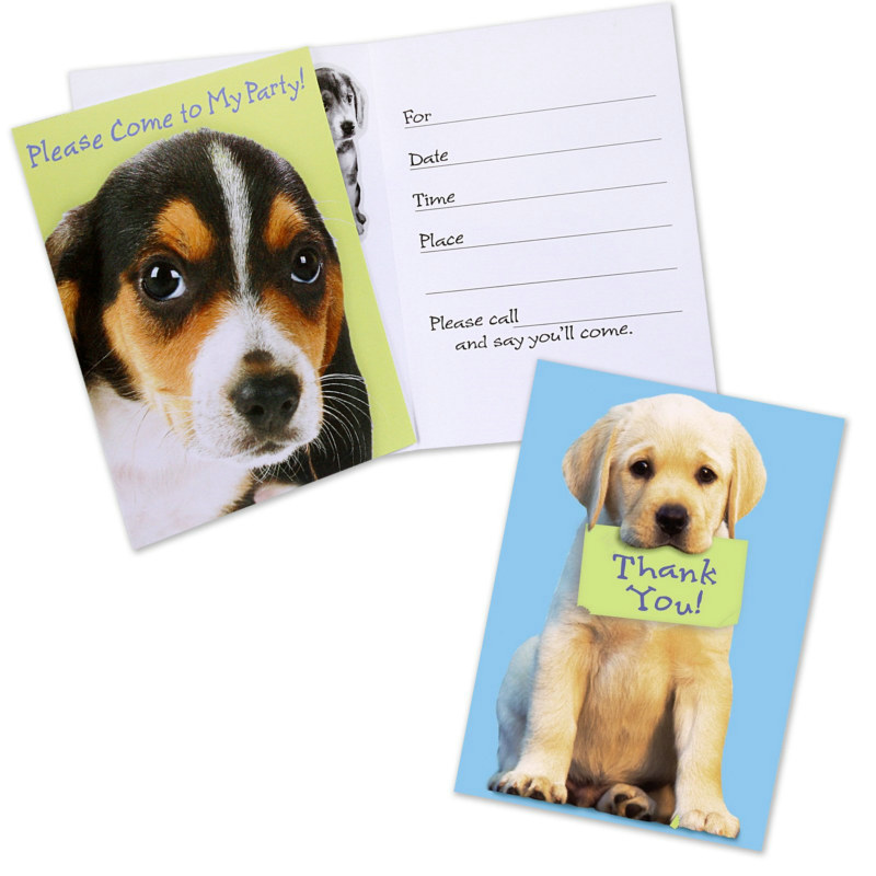 Party Pups 8 Invitations and 8 Thank You Cards