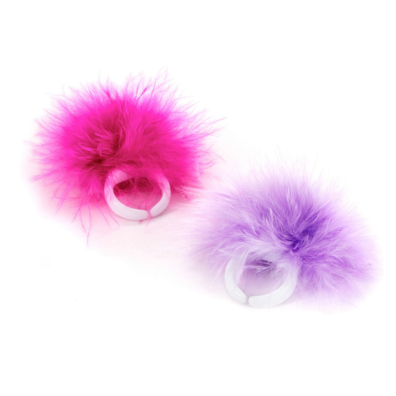 Ring with Marabou Trim (6 count)