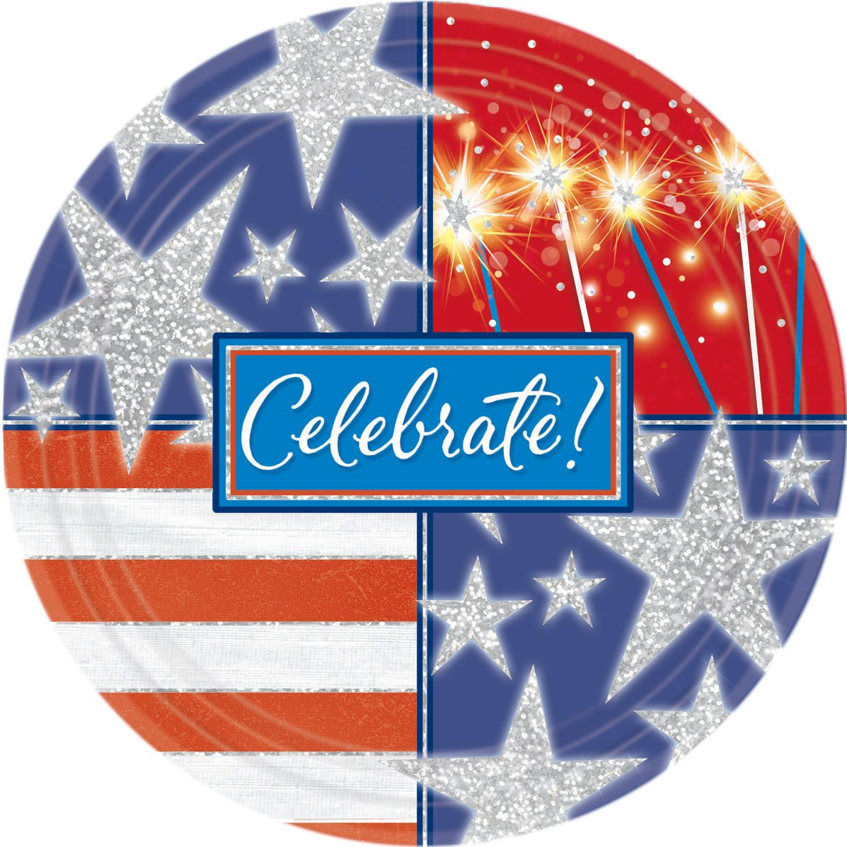 Celebrate Patriotic Prismatic Dessert Plates (8 count)