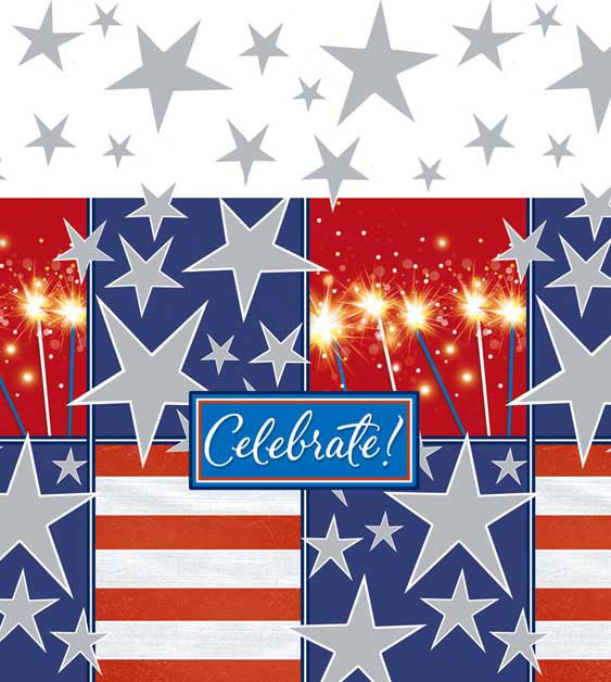 Celebrate Patriotic Plastic Tablecover - Click Image to Close