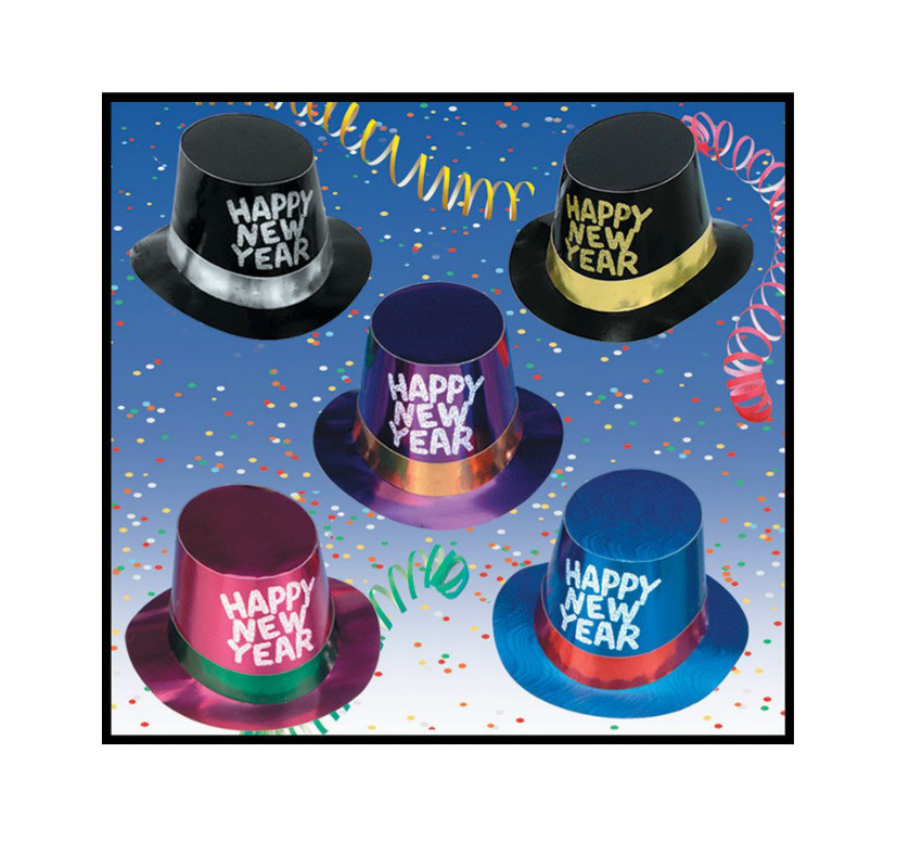 New Year's Foil Hi-Hat with Glitter Assorted (1 count)