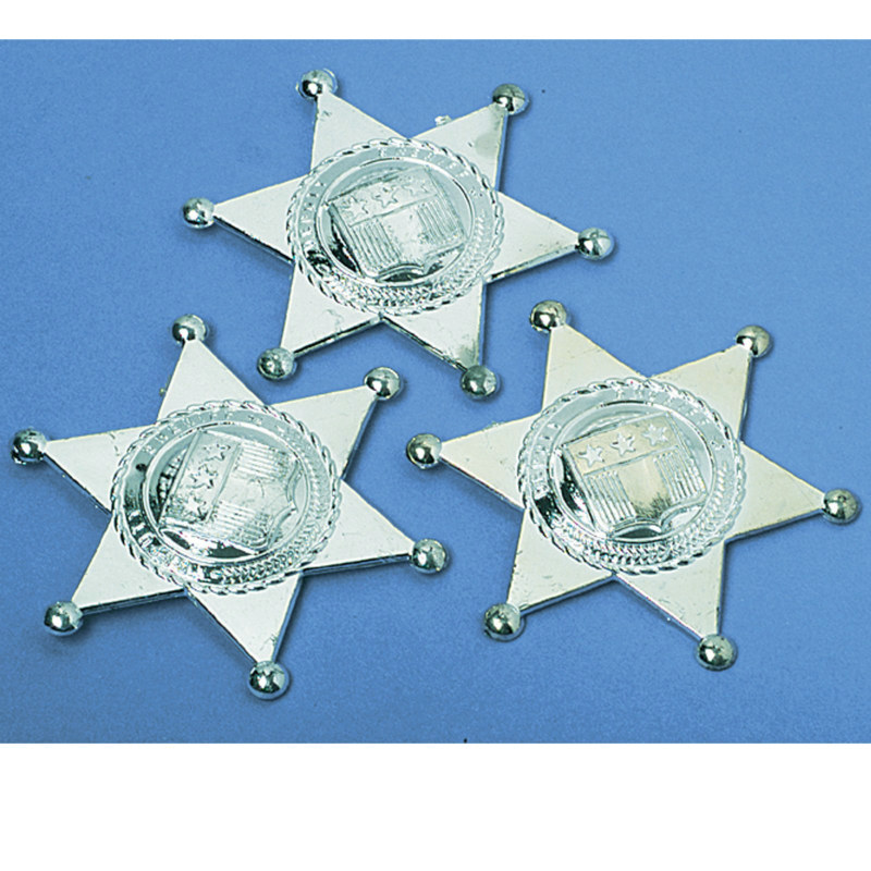 Silver Sheriff Badges (12 count)