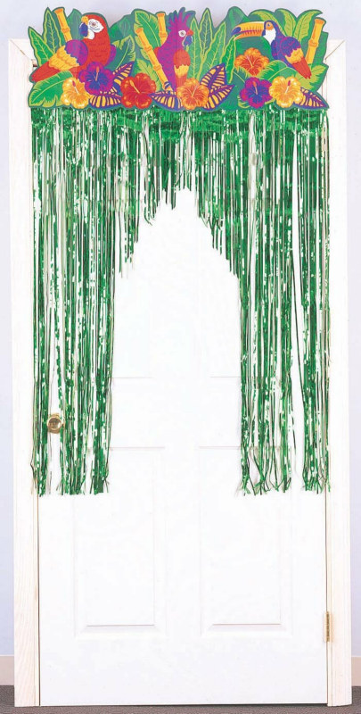 Tropical Birds Foil Door Curtain