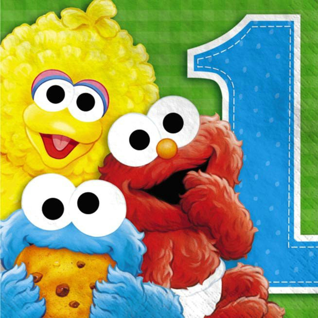 Sesame Street 1st Birthday Lunch Napkins (16 count)