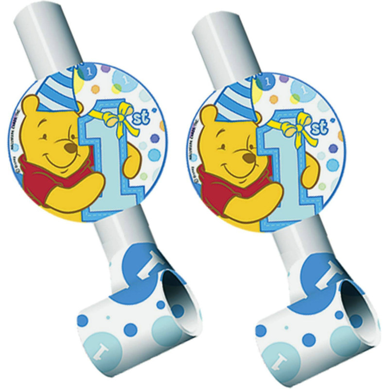 Pooh's 1st Birthday - Boy Blowouts (8 count)