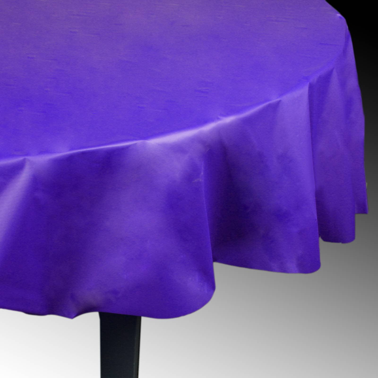"Purple 84"" Round Plastic Tablecover"
