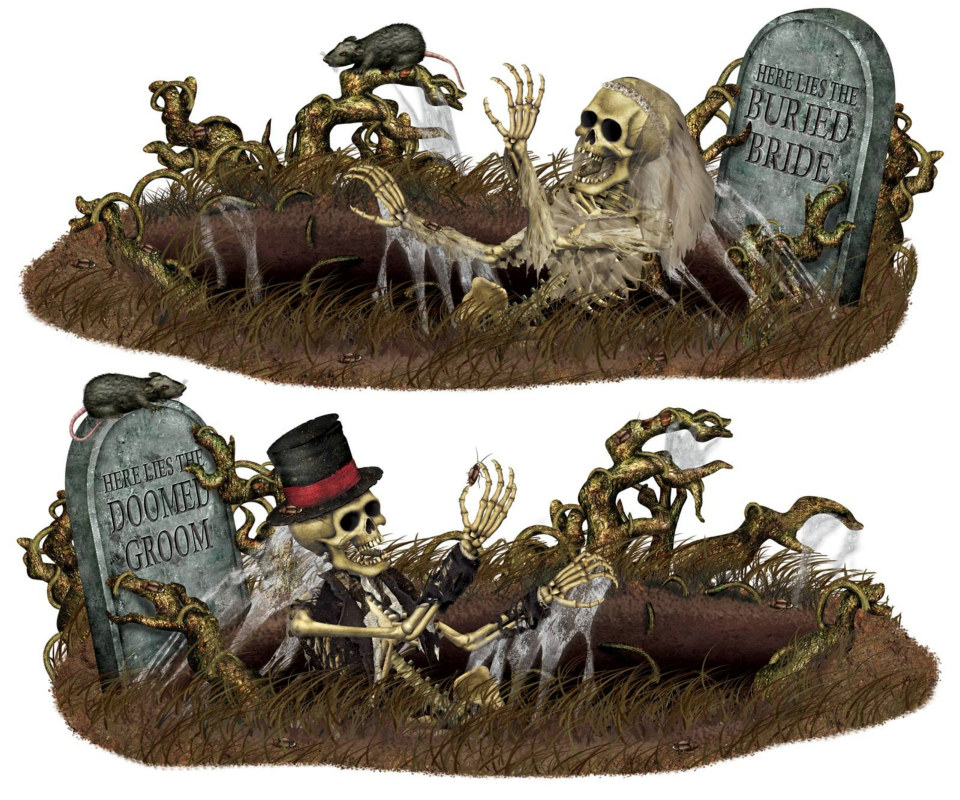 5' Doomed Groom & Buried Bride Props Wall Add-Ons