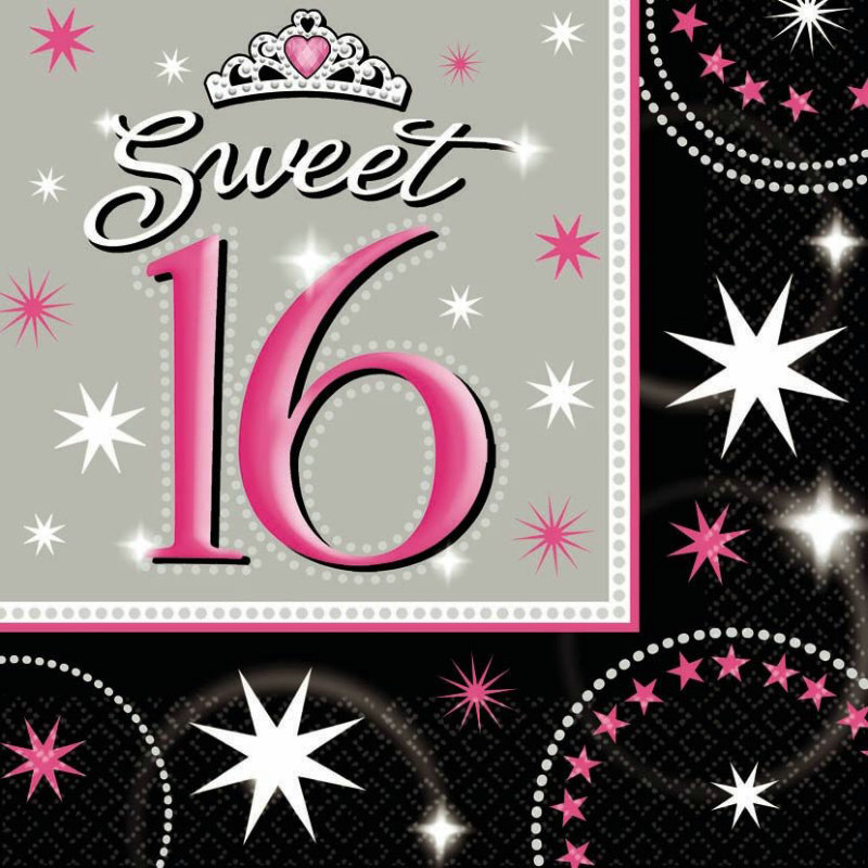 Sweet 16 Sparkle Lunch Napkins (16 count)