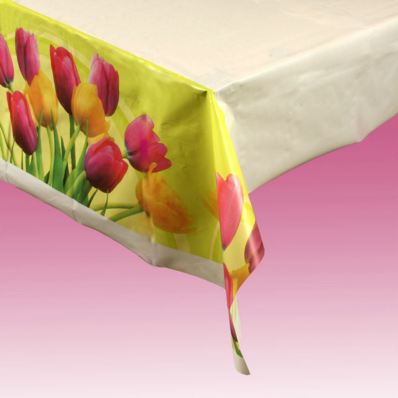 Blooming Tulips Plastic Tablecover