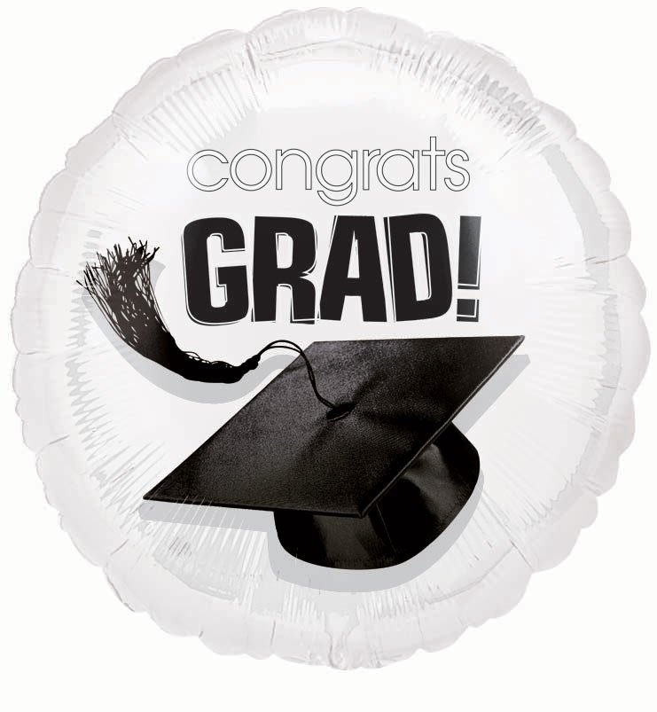 "18"" White Grad Foil Balloon"
