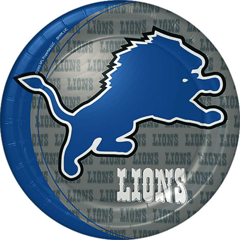 Detroit Lions Paper Dinner Plates (8 count) - Click Image to Close