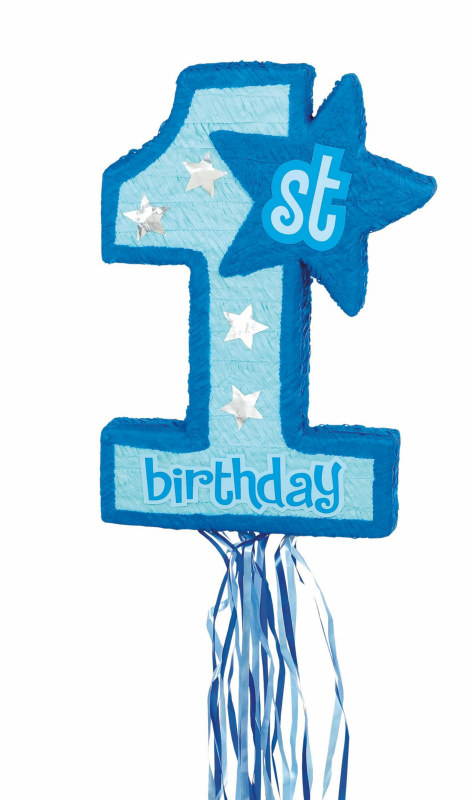 Blue 1st Birthday Pull String Pinata