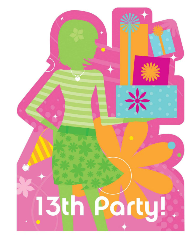 Birthday Style 13th Birthday Cutout Invitations (8 count)