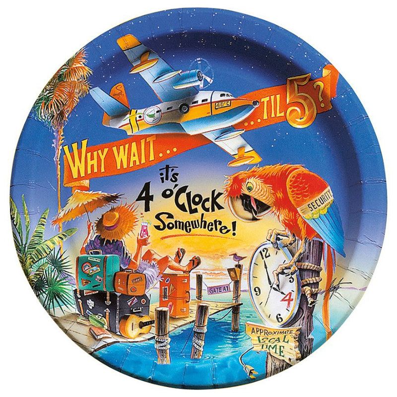 4 O' Clock Somewhere Dinner Plates (8 count)
