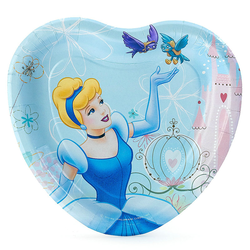 Cinderella Dreamland Heart Shaped Dessert Plates (8 count) - Click Image to Close