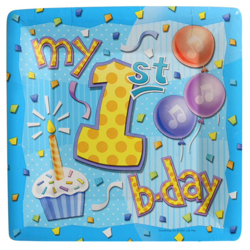 My 1st Birthday Blue Square Dinner Plates (8 count)
