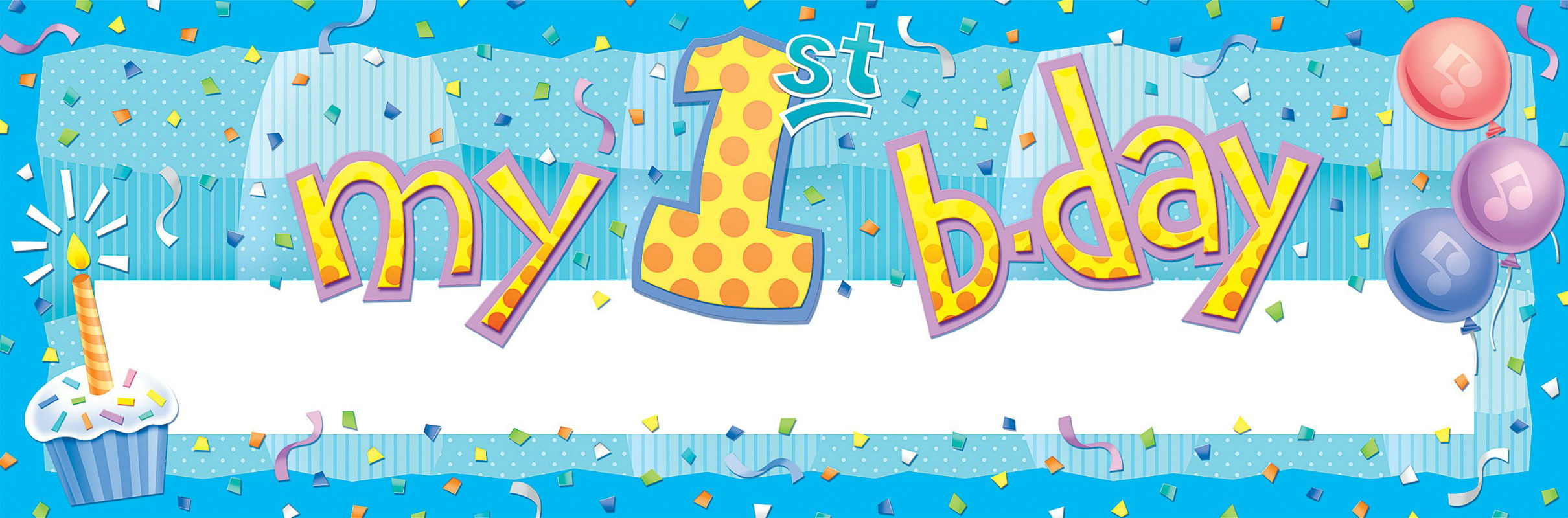 My 1st Birthday Blue Giant Write-in Banner