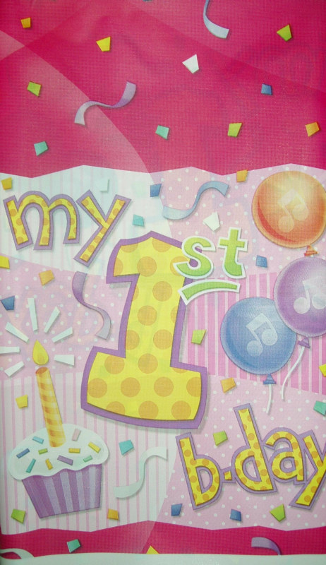 My 1st Birthday Pink Plastic Tablecover