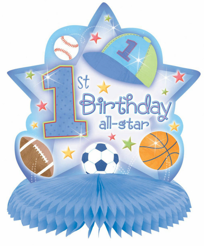 1st Birthday All-Star Honeycomb Centerpiece