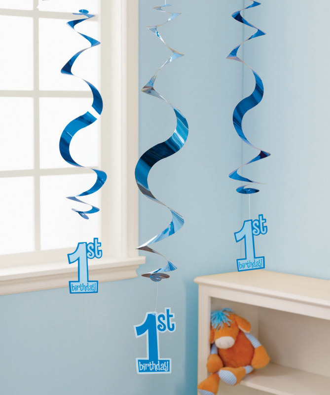 Blue 1st Birthday Hanging Swirl Decorations (5 count)