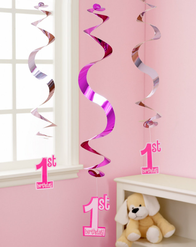 Pink 1st Birthday Hanging Swirl Decorations (5 count)