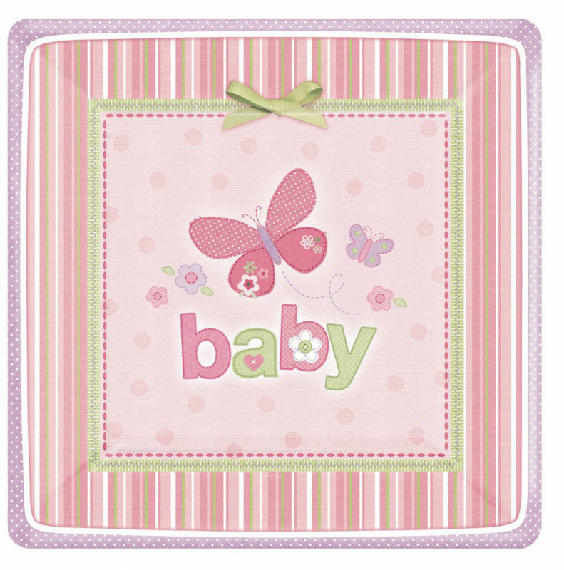 Carter's Baby Girl Square Dessert Plates (8 count)